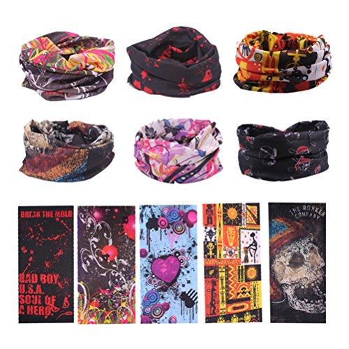 Frcolor Bandanas Bandanas - Multifonctionnel Sport Casual Headwear sans couture cou Gaiter, Headwrap pour Camping Running Cyclisme Pêche, Pack de 6 (couleur aléatoire)