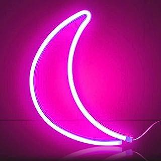 XIYUNTE lune Néon Enseignes lumineuses Décoration murale, Batterie et USB alimenté rose lune Néons Applique murale Intérie...
