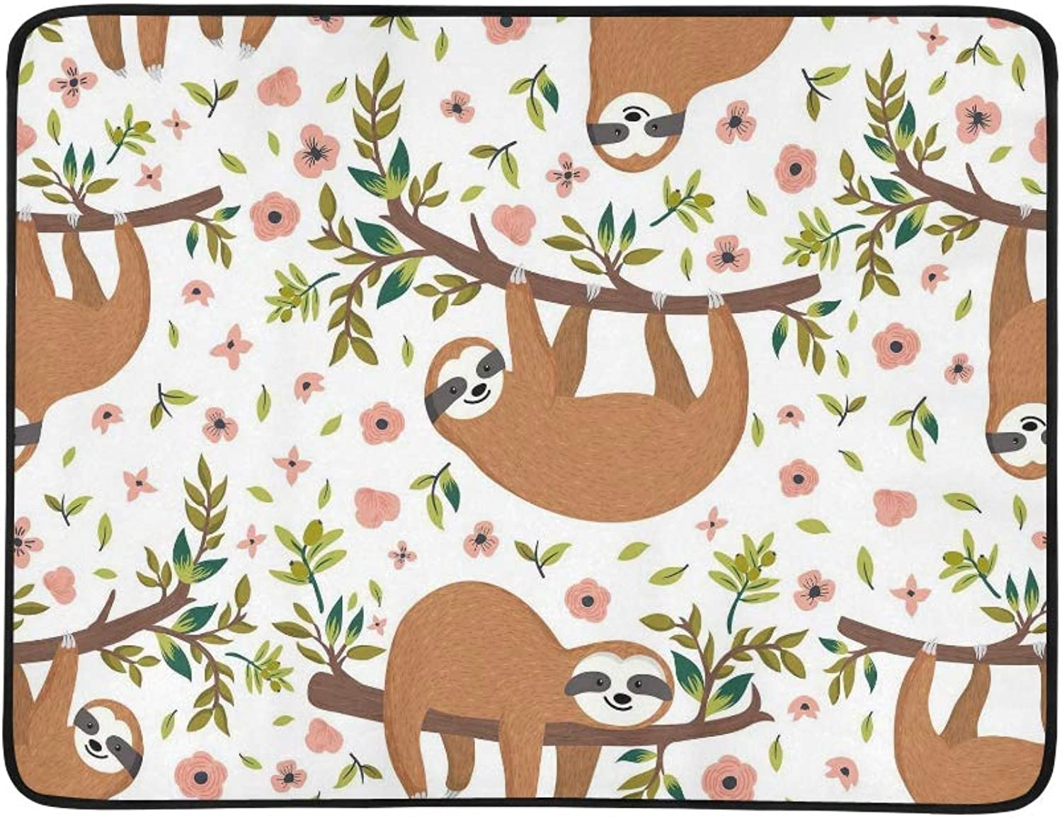 Cute Animal Sloth On Tree Flower Pattern Portable and Foldable Blanket Mat 60x78 Inch Handy Mat for Camping Picnic Beach Indoor Outdoor Travel