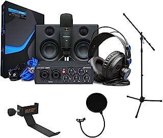 PreSonus AudioBox Studio Deluxe Ultimate Bundle (25th Anniversary) with Mic Stand, Headphone Holder & Pop Filter Kit