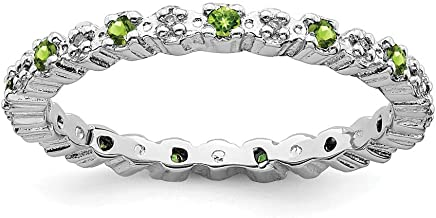 925 Sterling Silver Green Peridot Diamond Band Ring Stone Stackable Gemstone Birthstone August Fine Jewelry For Women Gift Set