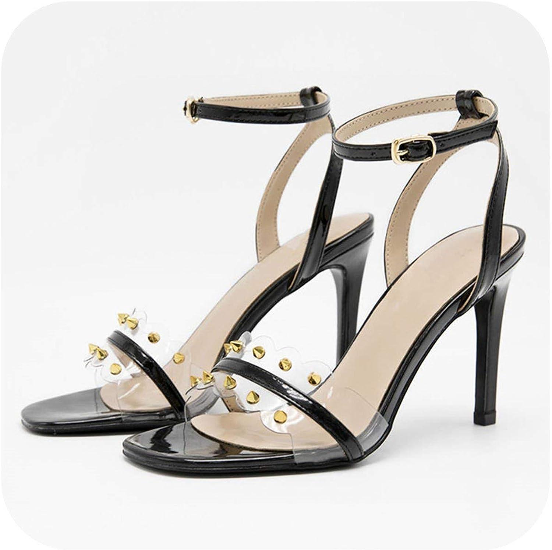 PVC 9CM Thin Heels Women Sandals PU Rivets Summer shoes Open Toe High Heels K-278