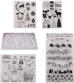 5Pcs Christmas Transparent Silicone Stamps Sheet Cling Scrapbooking Stamp Wedding Party Invitations Scrapbook DIY Craft Stamp Xmas Design Hand Made Stamps Photo Album Card Making Decoration Stamp