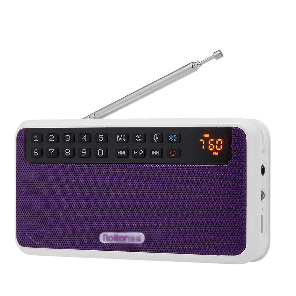 観客記念品予報シンプルなプリセットとラジオFMデジタルラジオポータブルデジタルハイファイステレオTF音楽プレーヤーLEDディスプレイマイク (Color : Purple)