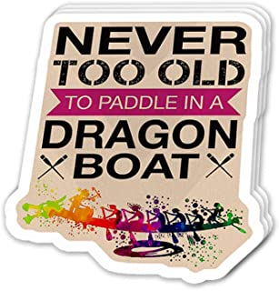 Uitee Store Cool Sticker (3 pcs/Pack,3x4 inch) Never Too Old to Paddle in a Dragon Boat Inspirational Quote Stickers for Water Bottles,Laptop,Phone,Teachers,Hydro Flasks,Car