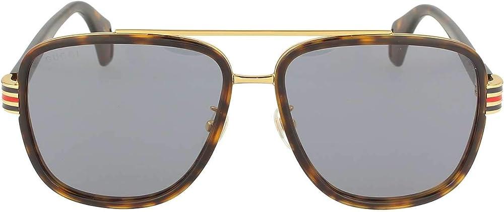 Gucci occhiali, havana dunk e l/gold, 58.0 unisex GG0448S-004-58