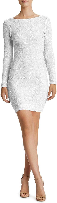 Dress the Population Women's Lola Long Sleeve Sequin Dress, White/Nude, L