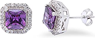 Halo Stud Post Wedding Earring Princess Cut Square Simulated Purple Amethyst Round CZ 925 Sterling Silver