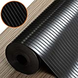 SinhRinh Shelf and Drawer Liner, 12 Inch x 20 FT Non Slip Non Adhesive Cabinet Liner for Drawers, Shelves, Storage, Kitchen and Desk - Black Ribbed
