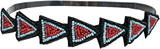 Mia Beautiful, Pretty Embellished Beaded Headband Hair Accessory, Black, Red, And Turquoise Blue Beads In Triangle Design, Elastic Rubber Band, For Women and Girls 1 pc