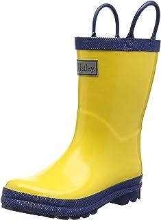Hatley Rainboots-Yellow & Navy, Botas de Lluvia clásicas Wellington Unisex niños