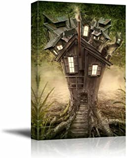 Canvas Prints Wall Art - Fantasy Tree House in Forest | Modern Wall Decor/Home Decor Stretched Gallery Canvas Wraps Giclee Print & Ready to Hang - 12