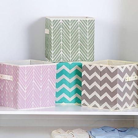 Onlyup Lot de 4 boîtes de rangement pliables en tissu avec poignées en forme de cube pour étagère, penderie, coton de rangement, 28 x 28 x 28 cm (style E)