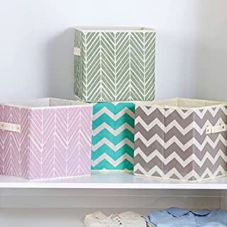 Onlyup Lot de 4 boîtes de rangement pliables en tissu avec poignées en forme de cube pour étagère, penderie, coton de rang...