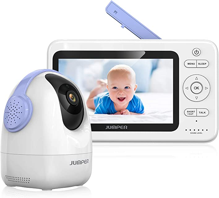JUMPER Monitores Para Bebés Monitor Inalámbrico de Video Para Bebés 2.4GHz 720P PTZ Cámara+5.0HD Monitor LCD Audio Bidireccional Visión Nocturna Invisible (Púrpura)