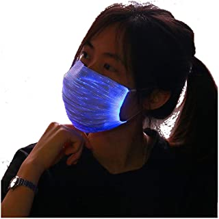 AMIMA LED Light up Rave Face Mask 7 Color Lights Change USB Rechargeable Glowing Luminous Dust Mask