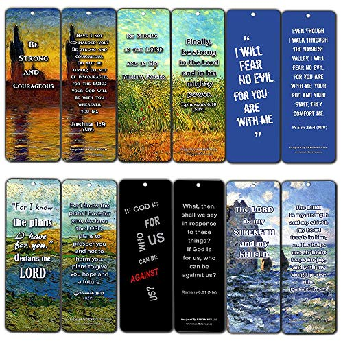 Christian Bible Bookmarks - Be Strong NIV (12-Pack) - Awesome Stuffing Stocker for Ministry - Sunday School Church Memory Verse Sunday School Rewards - Christmas Stocking Stuffers Birthday Party Gifts