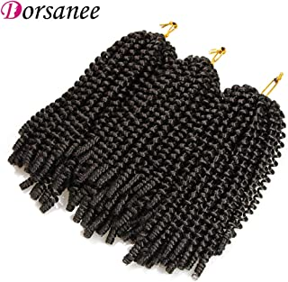 8 Inch 3 Packs Spring Twist Hair for Braiding Passion Twist Kinky Curl Crochet Hair Extensions Synthetic Hair Weave Crochet Braids (2#)