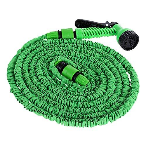 Tubo flessibile da giardino estensibile con connettore per pistola a pressione per lavaggio auto, irrigazione da giardino (50FT)