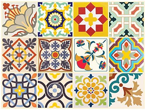 The Nisha 24 PC pegatinas para pared Adhesivo de Pared Salpicadero de Vinilos Azulejos Adhesivos Arte Ecléctico para la Cocina & Baño, 10x10 cm, Alegre
