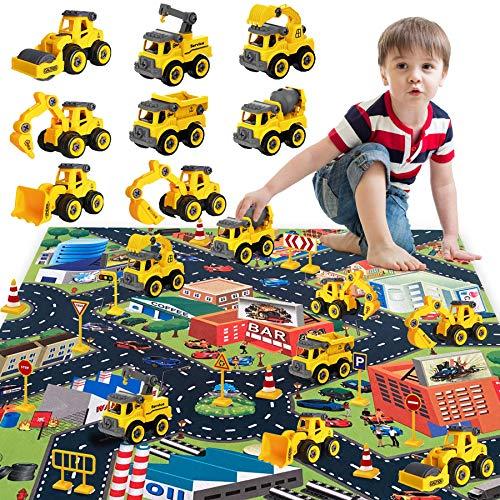 HapeeFun Macchina da Assemblare Camion, Giocattoli per Veicoli da Costruzione, Assemblare Giocattoli per Camion, 8 Camion con Tappetino da 80 * 70 Cm e Segnali Stradali, Regalo Educativo per Bambini