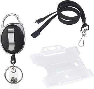 Vicloon Porte-badge avec Yoyo et Cordon Résistant avec Courroie de Cou de Lanière,Protection de Vos Badges Carte de Visite...