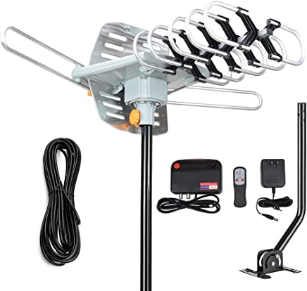 $49 Get 2019 Version Outdoor Amplified Digital HDTV Antenna - 150 Mile Motorized 360 Degree Rotation- TA Amplified HD TV Antenna for 2 TVs Support UHF/VHF 4K 1080P Channels Wireless