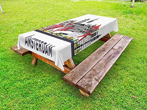 ABAKUHAUS Amsterdam Tafelkleed voor Buitengebruik, Travel Spots Holland Stad, Decoratief Wasbaar Tafelkleed voor Picknicktafel, 58 x 120 cm, Vermilion White