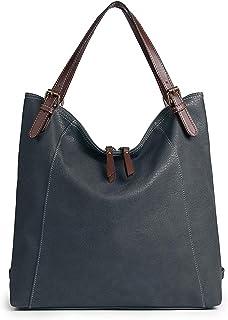 Brenice Damen Umhängetasche, Brenice Rindsleder Tote Handtaschen Vintage Multifunktions Rucksack Schultertaschen Crossbody Tasche für Frauen