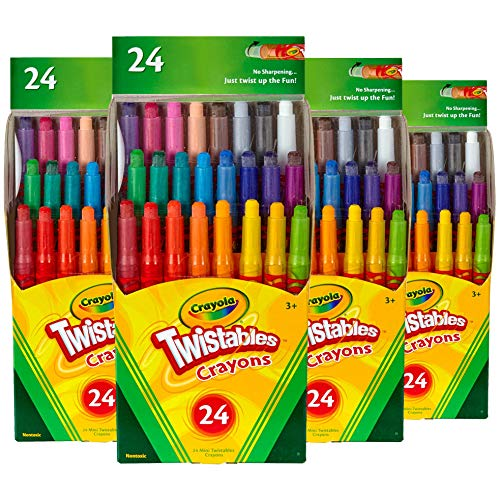 Crayola Mini Twistables Crayons 24-Units per Pack, Non-Toxic, Self-Sharpening (4-Pack)