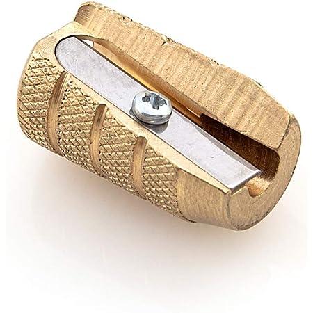 Fine&Candy - Temperamatite in ottone con un solo foro, affilatore per matite, lama robusta e di qualità, colore: oro