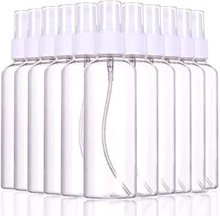 nobrand 12 Pcs Plastic Clear Spray Bottles 100ml,Refillable Fine Mist Sprayer Bottles 100ml Makeup Cosmetic Atomizers Empty Small Spray Bottle Container for Essential Oils,Perfumes