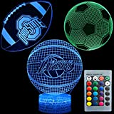 3D Illusion Sports Night Light Tre modelli Basket Calcio Calcio Ohio State Rugby 7 Cambio colore Decor Lampada Scrivania Tavolo Lampada da notte per bambini Regalo di festa per bambini