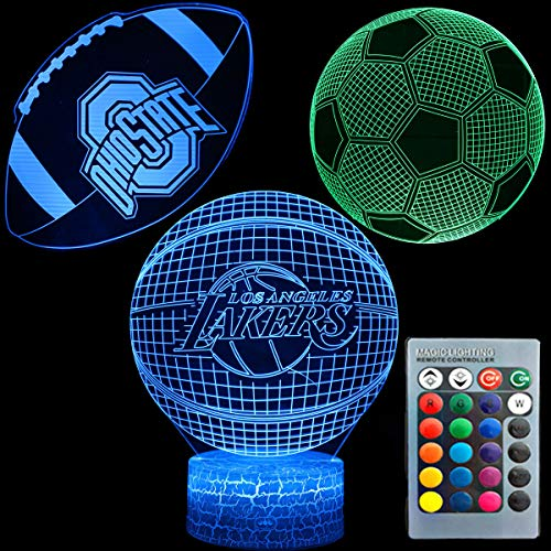 3D Illusion Sport Nachtlicht Drei Muster Basketball Fußball Fußball Ohio State Rugby 7 Farbwechsel Dekor Lampe Schreibtisch Tisch Nachtlicht Lampe für Kinder Kinder Weihnachtsgeschenk