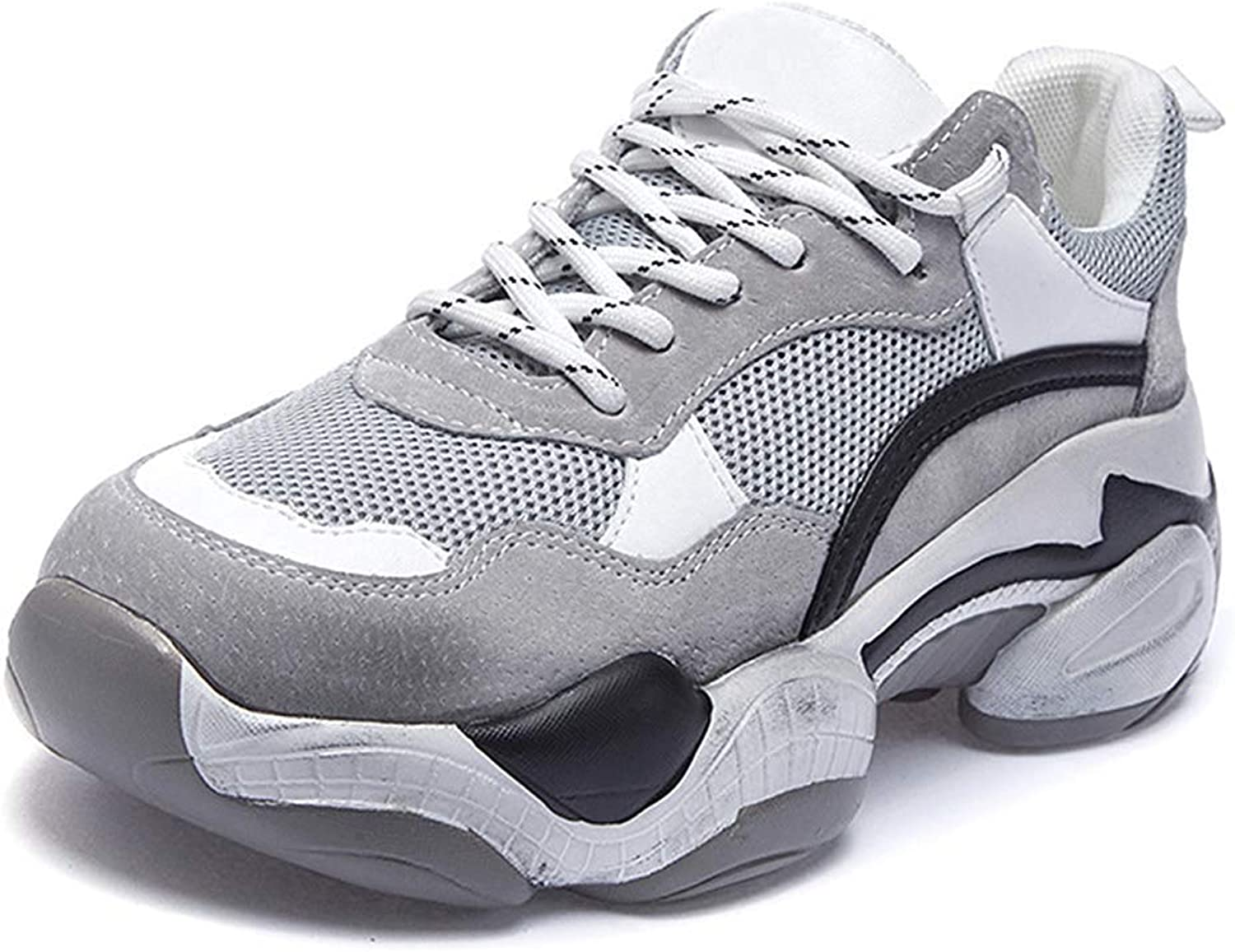 Unm Women's Thick Sole Platform Chunky Sneakers - Casual Mesh Breathable - Flat Thick Sole Dad shoes