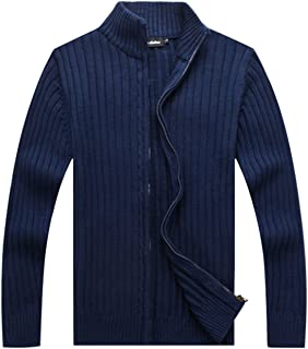Men's Casual Autumn Stand Collar Full Zip Up Knitted Cardigan Sweater
