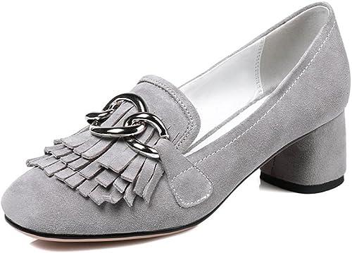 XUERUI Escarpins Haut Talon Talon Talon épais avec des Glands carrés rétro Confort Chaussures Simples des Femmes (Couleur   gris, Taille   EU38 UK5.5 CN38) 9c5