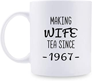 52nd Anniversary Gifts - 52nd Wedding Anniversary Gifts for Couple, 52 Year Anniversary Gifts 11oz Funny Coffee Mug for Couples, Husband, Hubby, Wife, Wifey, Her, Him, making wife tea