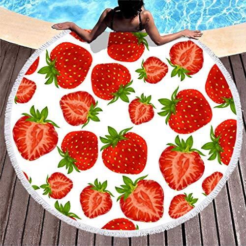 Groß Rund Strandtuch Erdbeere Microfaser Strandtücher Strandhandtuch Badetuch Wandteppich Teppich Yoga Matten Picknickdecke Stranddecke Weiß 150cm