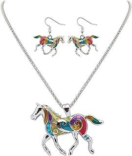 Qinlee Halskette Ohrhänger Satz Kreative Bunt Pferd Form Anhänge Strangkette Ohrringe Hochzeiten Bankette Party Mode Geschenk für Damen Mädchen (Silber)