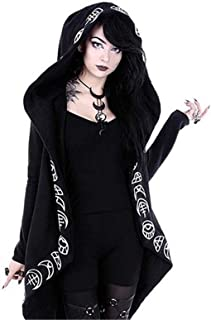 Bestwo Women's Moon Gothic Witchcraft Hooded Cardigan Occult Long Sleeve Punk Hoodie Jacket Mid Long Sweatshirt