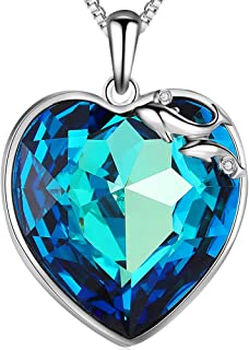 Crystal Heart Pendant Necklace for Women,Austria Crystal Jewelry with Gift Box