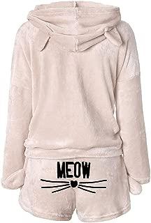 Womens Cute Fleece Pajamas Suit Long Sleeve Hoodie Meow Shorts Sleepwear Set