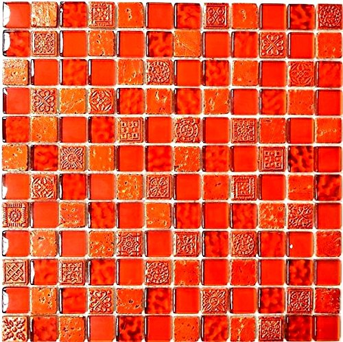 Mosaik Fliese Transluzent rot Glasmosaik Crystal Resin rot Struktur für WAND BAD WC DUSCHE KÜCHE FLIESENSPIEGEL THEKENVERKLEIDUNG BADEWANNENVERKLEIDUNG Mosaikmatte Mosaikplatte