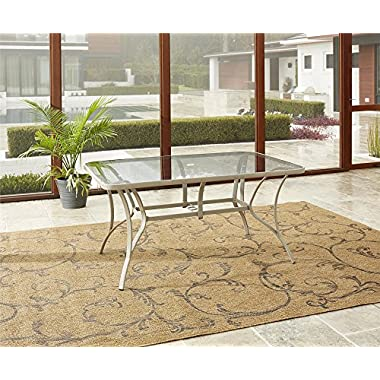 Cosco Outdoor Dining Table, Tempered Glass Table Top, Sandy Steel