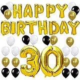 KUNGYO Letras Tipo Balón Doradas Happy Birthday+Número 30 Mylar Foil Globo+24 Piezas Negro Oro Blanco Globo de Látex 30 Años de Antigüedad Fiesta de Cumpleaños Decoraciones
