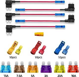 FULARR/® 5Pcs Premium ACU Mediano En L/ínea Impermeable Portafusibles con 16 AWG Arn/és 5Pcs Cables Ataduras 1Pcs Fusibles Extractor con Gratis 15Pcs Est/ándar Cuchilla Fusibles 12V // 24V