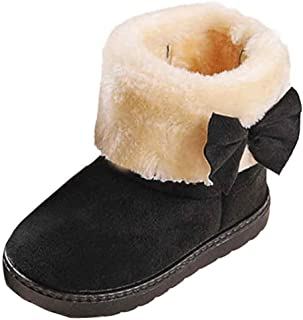 Voberry Voberry Unisex-child Toddler Warm Winter Flat Shoes Bailey Button Snow Boots