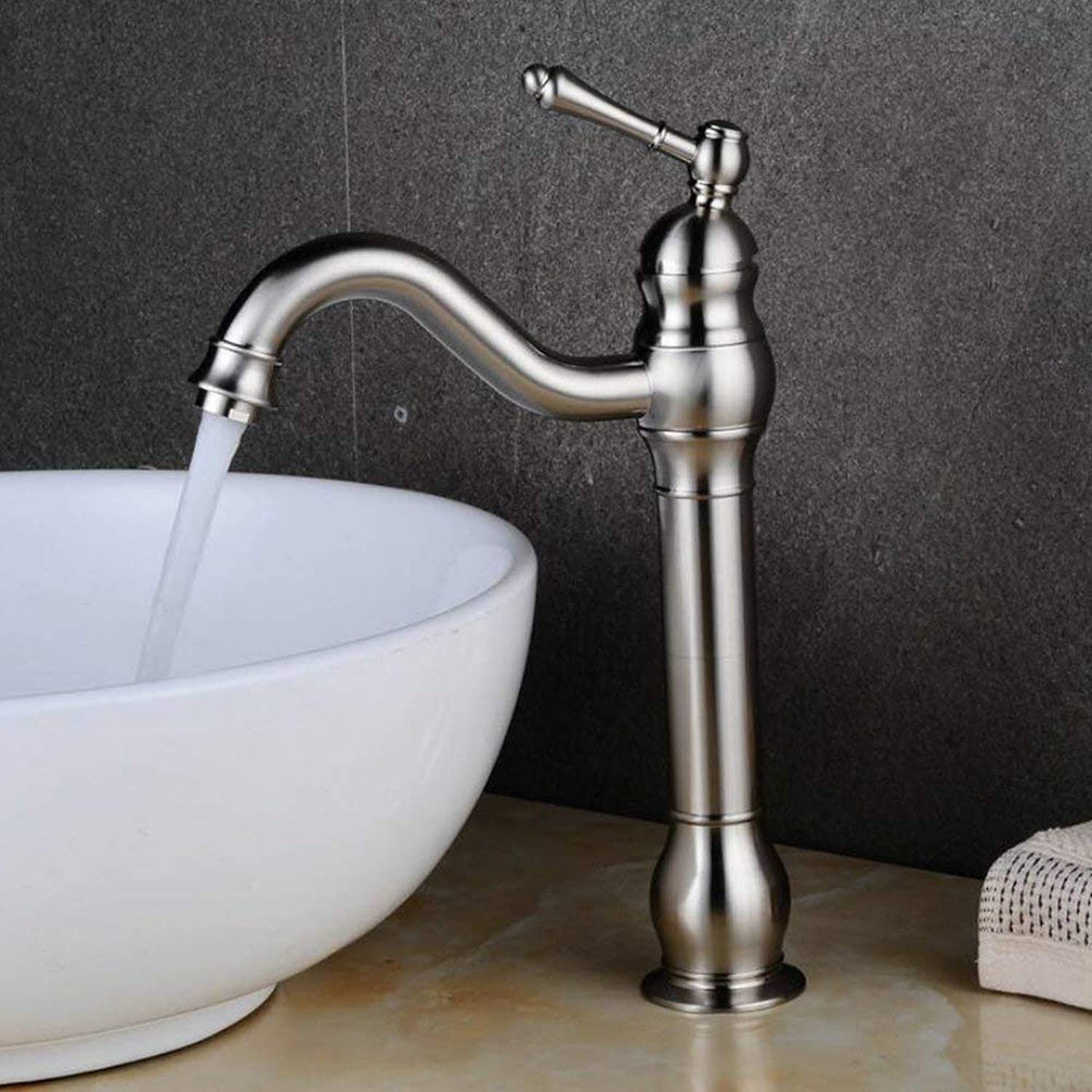 304 Stainless Steel Brushed Bathroom Faucet, High Basin Mixer 360 ° swiveling Single Lever Mixer Tap Sink Faucet Bathroom Fitting High Spout Bathroom