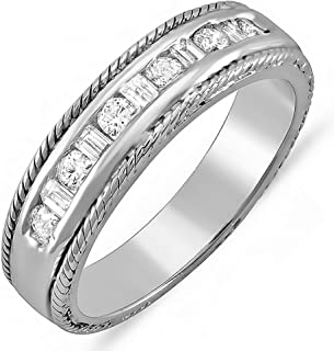 Dazzlingrock Collection 0.40 Carat (ctw) 14K White Gold Round & Baguette Diamond Ladies Wedding Band Ring